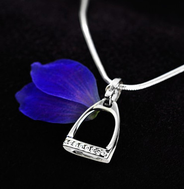 14k White Gold Stirrup Pendant with Row of Diamonds