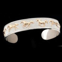 Sterling Silver and 14k Gold Galloping Horse Cuff Bracelet
