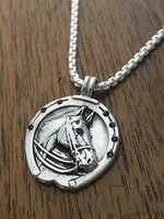 Sterling Silver Horse Head Watch Fob Pendant
