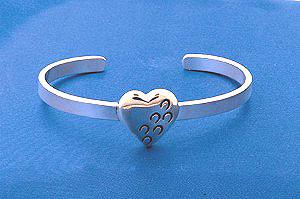 "Sterling Silver ""Hoofprints on Your Heart"" Bangle Bracelet"