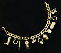 14k Gold Equestrian Charm Bracelet with 11 Charms