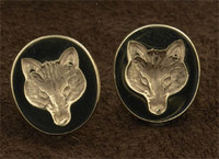 14k Gold Fox Mask Signet Earrings