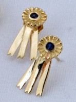 14k  Yellow or White Gold Blue Ribbon Earrings.