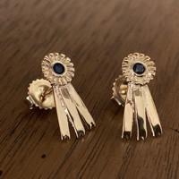 14k  Yellow or White Gold Blue Ribbon Earrings.