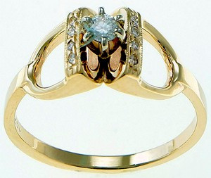 14k Gold and Diamond Stirrup Ring