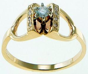 14k Gold and Diamond Stirrup Ring