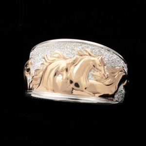 14k Gold and Sterling Silver Fantasy Horse Ring