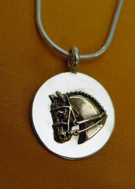 14k Gold Horse Head on a Sterling Silver Disc Pendant.