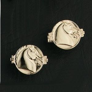 14K Gold Asian Horse Cufflinks