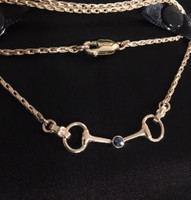 14k Yellow Gold Snaffle Bit Necklace with Sapphire