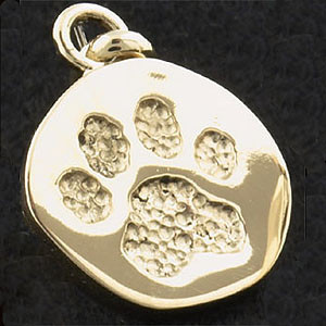 14k Gold Chunky Paw Print Charm or Pendant