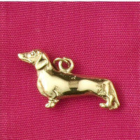 14k Gold Duashund Dog Charm or Pendant