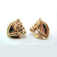 14k gold Dressage Horse Head Earrings.