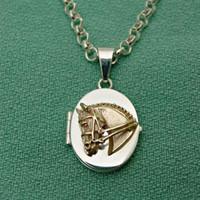 14k Gold Dressage Horse on Sterling Silver Locket Pendant