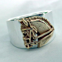 14k Gold Dressage Horse on Sterling Silver Ring