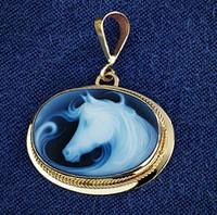14k Gold Fantasy Horse Cameo Pendant