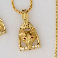 14k Gold Fox Mask with Ruby Eyes set in a Stirrup Pendant with Diamonds