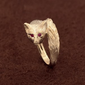 14k Gold Fox Ring With Ruby Eyes Show Stable Artisans