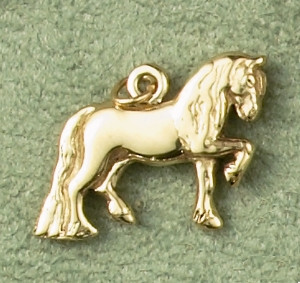 14k Gold Friesian Horse Charm or Pendant