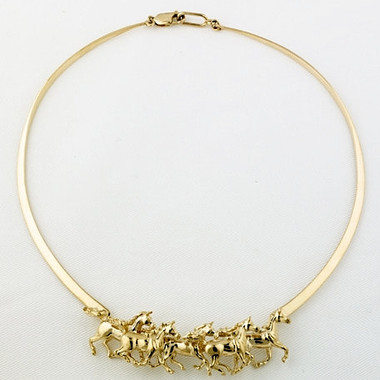14k Gold Galloping Horse Neckpiece
