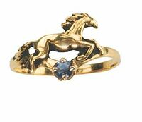 14k Gold Galloping Horse Ring with Sapphire