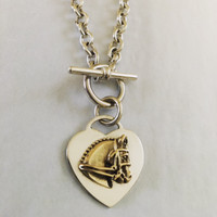 14k Gold Dressage Horse Head on Sterling Silver Heart Necklace