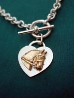14k Gold Dressage Horse Head on Sterling Silver Heart Neckpiece