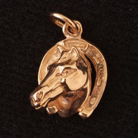 14k Gold Horse Head in Horseshoe Charm or Pendant