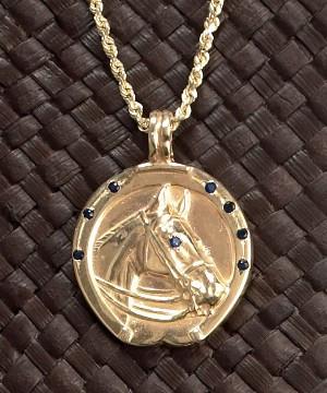 14k Gold Horse Head in Horseshoe Fob Pendant