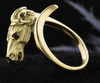 14k Gold Horse Head Ring with Ruby Eyes