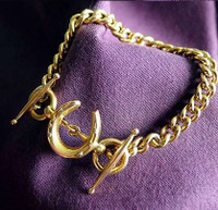 14k Gold Horseshoe and Bit Bracelet