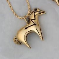 14k Gold Large Heartline Horse Pendant