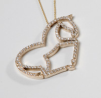 14k Gold Large Loveheart Horse Pendant with Diamonds.