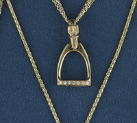 14k Gold Large Stirrup Pendant  with Diamonds