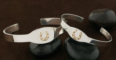 14k Gold Lucky Horseshoe on Sterling Silver Wide Bangle Bracelet Cuff