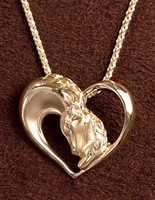 14k Gold Mare and Foal Pendant
