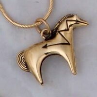 14k Gold Medium Heartline Horse Pendant or Charm