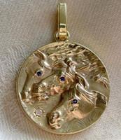 14k Gold Pharaoh's Horses Pendant