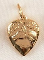 14k Yellow or White Gold Replica of a Victorian Horse in Heart Charm or Pendant