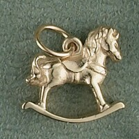 14K Gold Rocking Horse Charm or Pendant