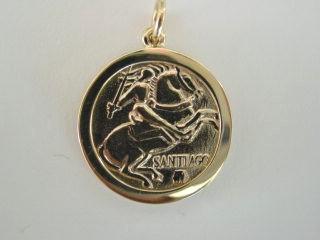 14k Gold Saint Santiago Medal