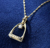 14k Gold Small Stirrup Pendant with Center Diamond