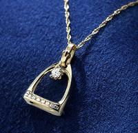14k Gold Small Stirrup Pendant with Center Diamond