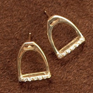 14k Gold Stirrup Earrings with Diamonds
