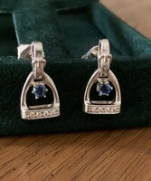 14k Yelllow or white  Gold Stirrup Stud Earrings with Diamonds and Sapphire