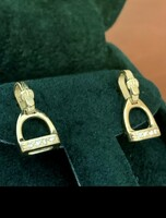 14k Yellow orWhite Gold Stirrup  and Buckle Stud Earrings with Diamonds