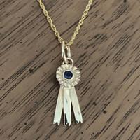 14k Gold Tiny Blue Ribbon Charm or Pendant