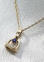 14k Gold Tiny Stirrup Pendant with Sapphire and Diamonds.