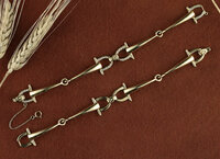 14k Gold Sophisticated Two Bits Snaffle Bit Bracelet with Diamonds
