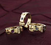 14k Gold Wide Victorian Belt and Buckle Gemstone Ring
